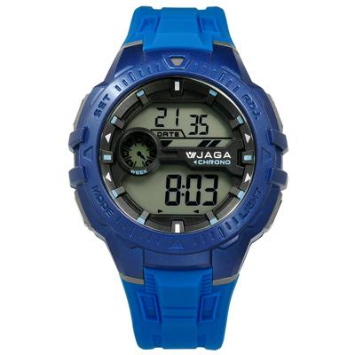 JAGA 捷卡 電子液晶第二時區計時碼錶倒數計時鬧鈴防水橡膠手錶-藍色/45mm