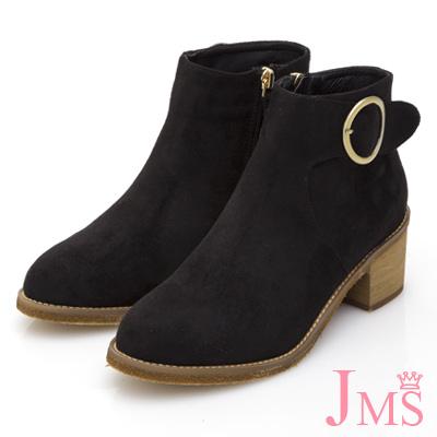 JMS-精粹質感細絨圓扣中跟短靴-黑色