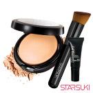 STARSUKI 3D光效持色粉餅+無畏裸妝粉底液5ML+粉底刷