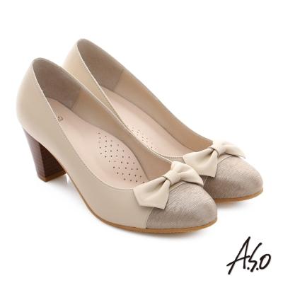A.S.O 逸麗知性 真皮異材質蝴蝶結窩心高跟鞋 卡其色