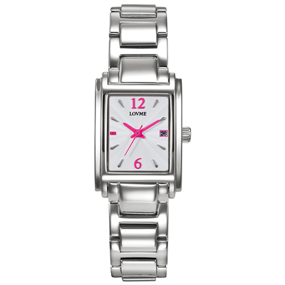 LOVME Delicate時尚腕錶-白x桃/23mm