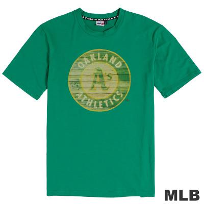 MLB-奧克蘭運動家隊木紋效果印花T恤-深綠(男)