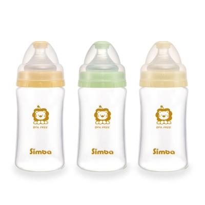 小獅王辛巴 超輕鑽寬口雙凹玻璃大奶瓶3支組(240ml)