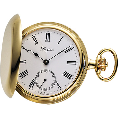 LONGINES 經典復古羅馬手動上鍊懷錶-白x金/48mm