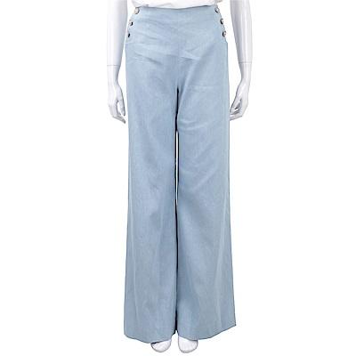 EDWARD ACHOUR PARIS 花朵側釦細節天藍色寬口棉質長褲
