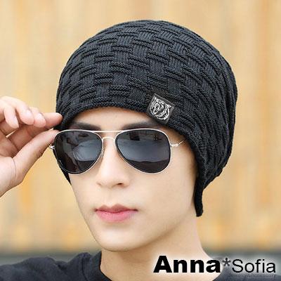 AnnaSofia-立體格編熊布標-保暖加厚針織貼