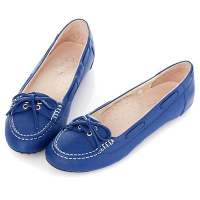 G.Ms. 微甜學院-羊皮綁帶蝴蝶結莫卡辛豆豆鞋-藍莓派