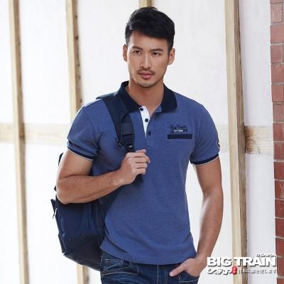 BIG TRAIN 經典花紗POLO衫-男-灰藍
