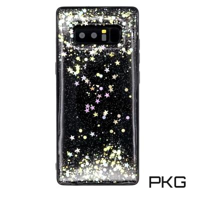 PKG 三星Note8 彩繪保護殼-閃亮雷射亮片-黑底
