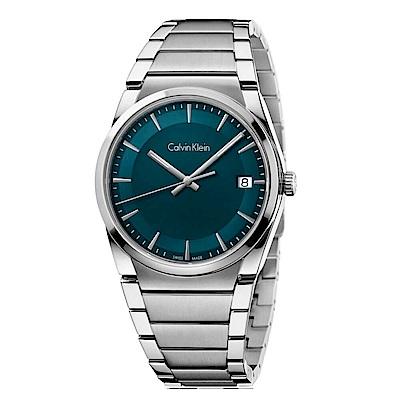 CK CALVIN KLEIN Step 型走系列時尚藍綠色面盤手錶-38mm