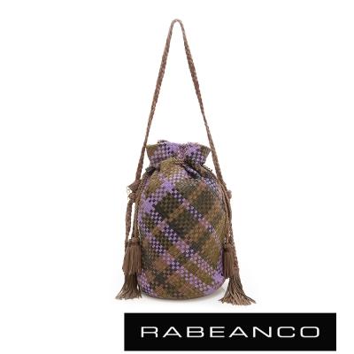 RABEANCO-流蘇抽繩牛皮編織水桶包-咖