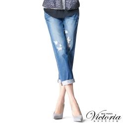 Victoria 配布割破補丁男友褲-女-中藍