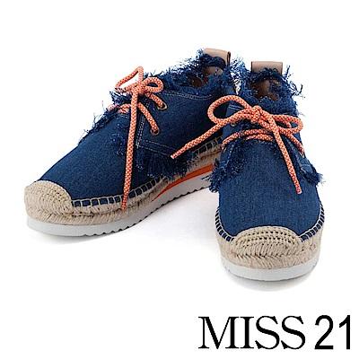 休閒鞋 MISS 21 率性抽鬚邊牛仔布草編厚底休閒鞋-牛仔