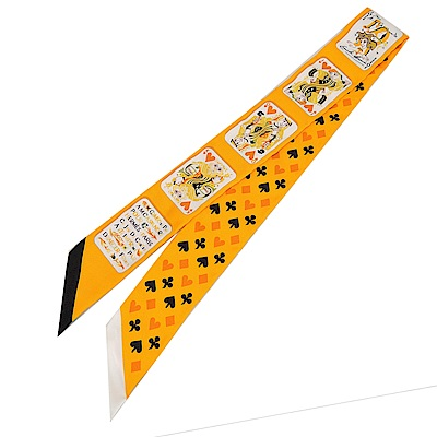 Hermes Jeu de Cartes 撲克牌Twilly 絲巾(橘黃)