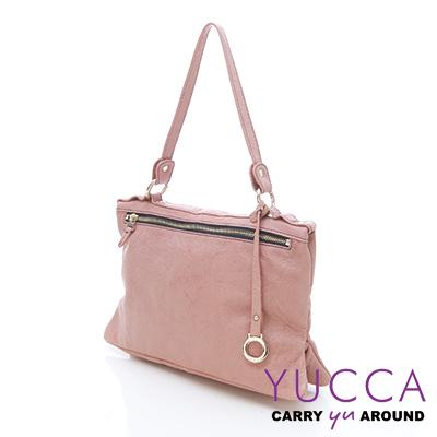 YUCCA - 繽紛水洗羊皮手提斜/肩背方包-粉紅色E6015125C41