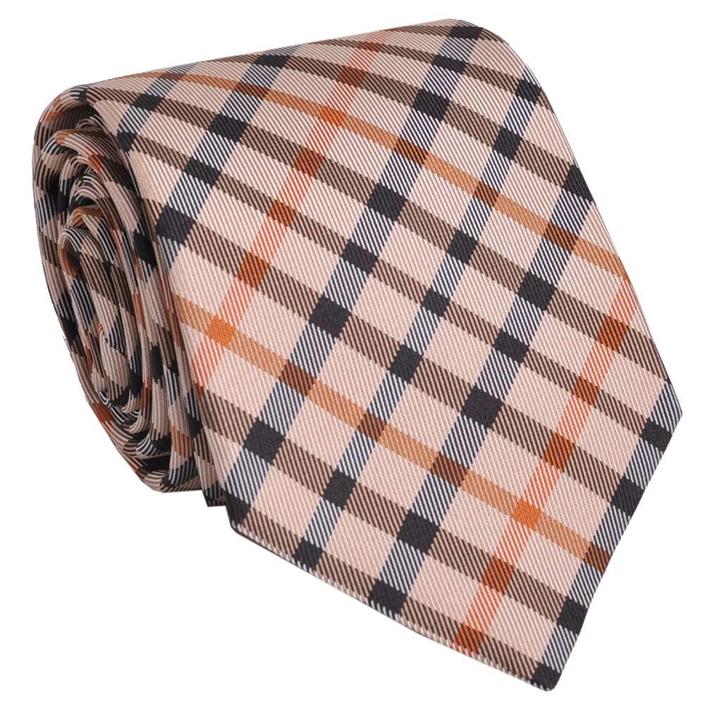 DAKS 經典品牌格紋LOGO圖騰領帶(卡其標準色)