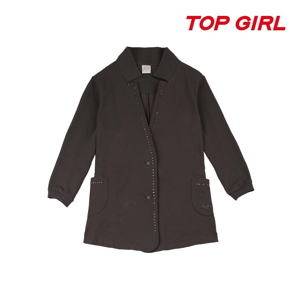 TOP GIRL 針織七分袖西裝外套-鐵灰