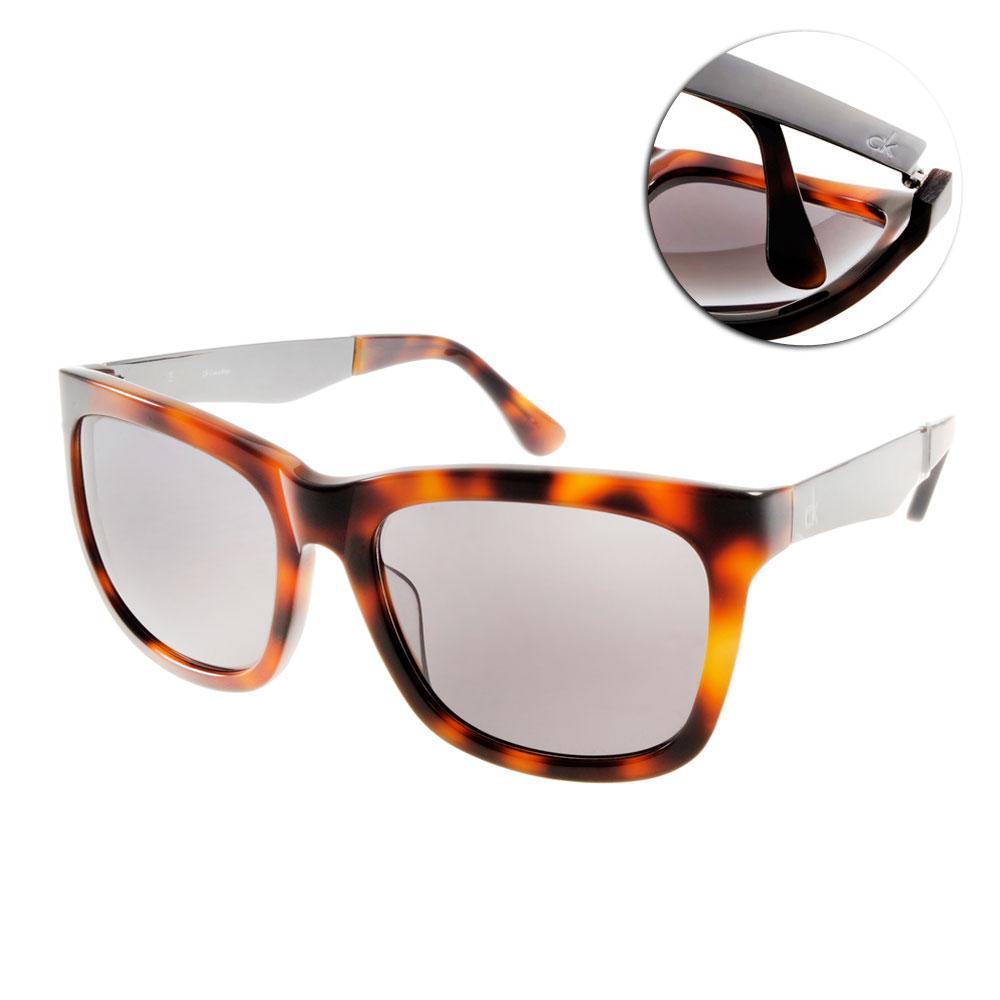 Calvin Klein太陽眼鏡 簡約大框/琥珀#CK4247S 004