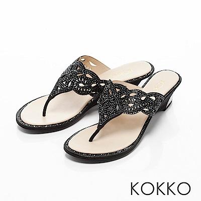 KOKKO-華麗年代蝴蝶紋夾腳楔型涼鞋-黑