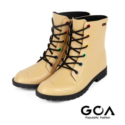 GOA 復古彩釦 帥氣短筒騎士雨靴-米