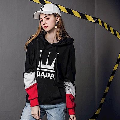 DADA SUPREME 袖剪接撞色連帽T-女-黑