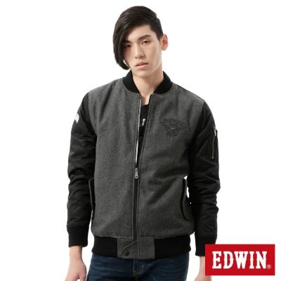 EDWIN 外套 毛呢剪接舖棉外套-男-灰色