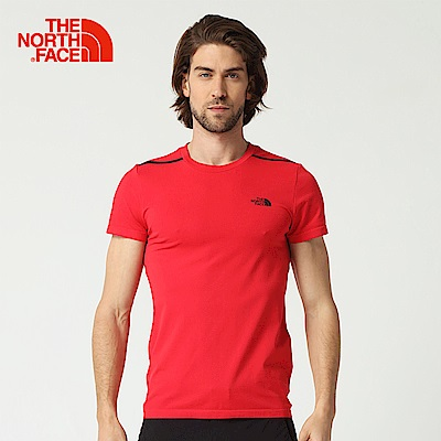 The North Face北面男款紅色排汗透氣運動短T恤