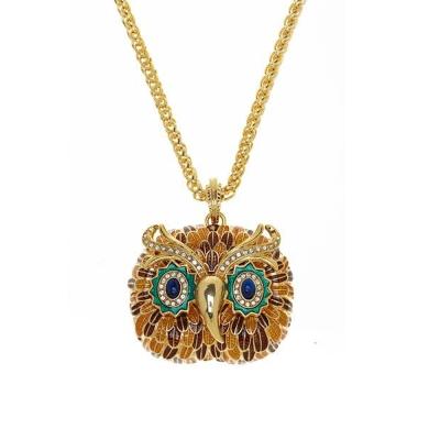 Kenneth Jay Lane 好萊塢巨星最愛 咖啡琥珀貓頭鷹項鍊 鑲K金寶藍琉璃眼睛