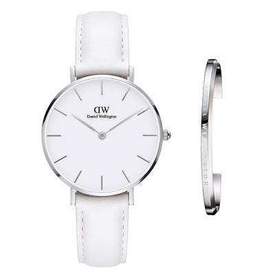 DW DanielWellington經典真皮手錶手錶禮盒套組-白/32mm