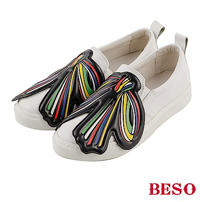 BESO 獨特玩味 真皮彩色大蝴蝶結休閒鞋~白