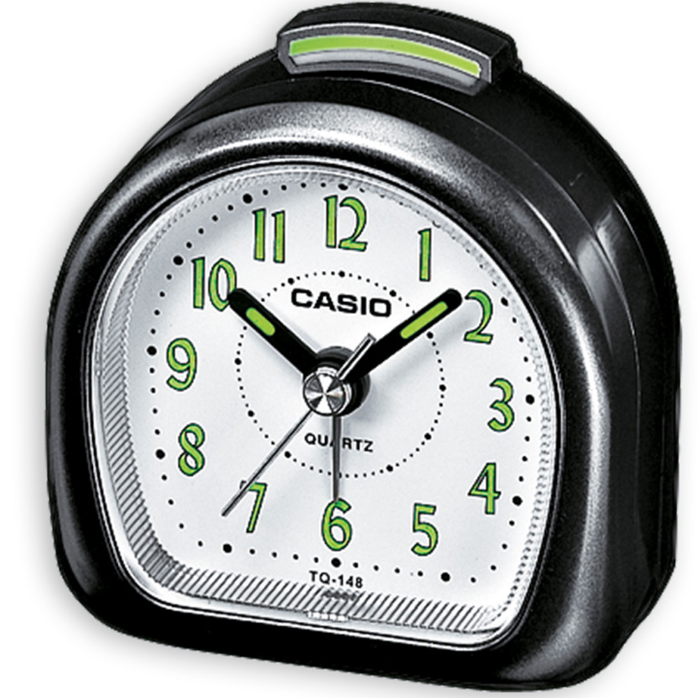 【CASIO 】夜光指針桌上型鬧鐘(黑)