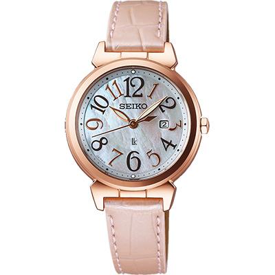 SEIKO LUKIA 太陽能甜美時尚腕錶(SUT190J1)-天然珍珠貝x粉/30mm