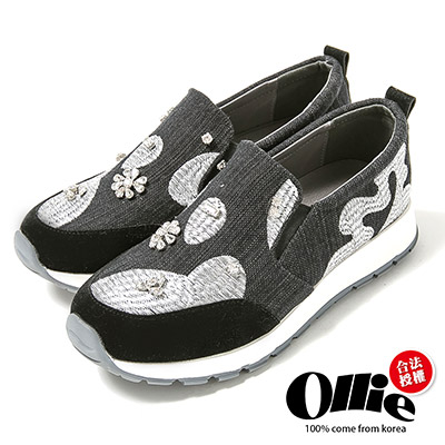 Ollie韓國空運-復古中國風剌繡花鑽帆布懶人鞋-黑