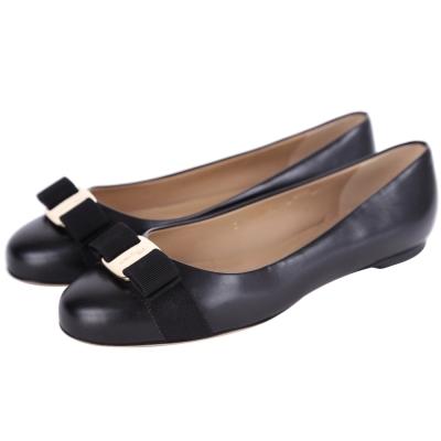 Salvatore Ferragamo VARINA 蝴蝶結飾牛皮娃娃鞋(黑色)