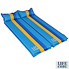 LIFECODE 條紋可拼接自動充氣睡墊(有枕頭設計)-厚5cm (2入組)