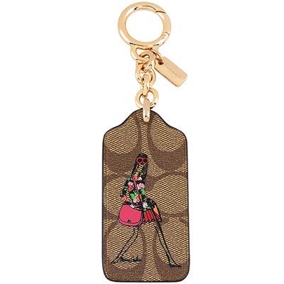 COACH 焦糖色時尚女孩圖樣PVC鑰匙圈