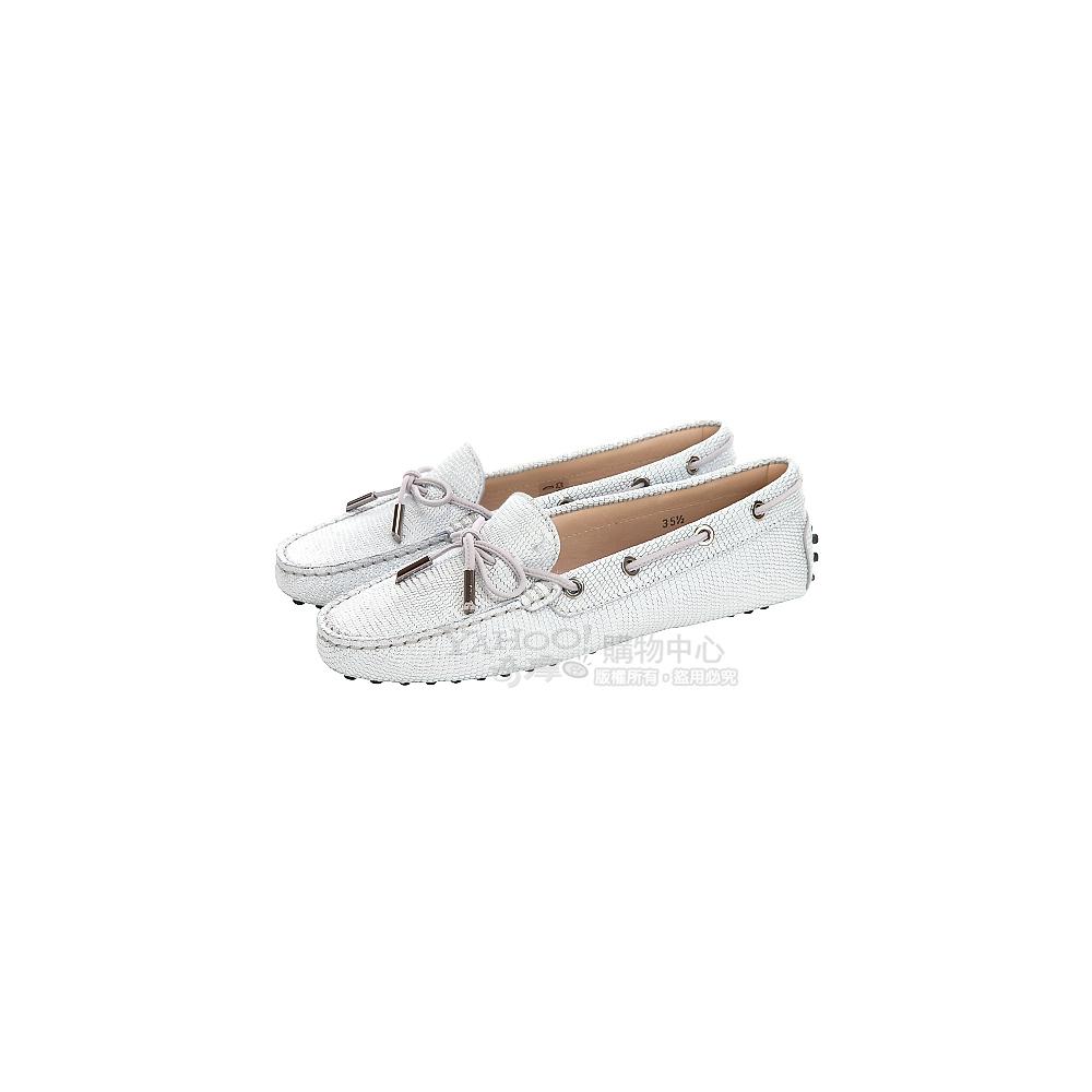 TOD'S 銀色壓紋設計綁帶豆豆休閒鞋