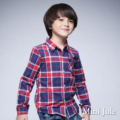 Mini Jule 童裝-襯衫 格紋單口袋長袖襯衫 (紅)