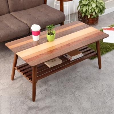 Bed Maker-拼花長方形 折疊收納茶几(附棚板/台灣製)100x50x38cm