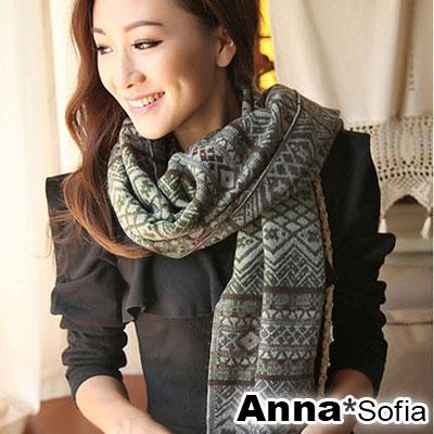 AnnaSofia-古典小菱格款-流蘇仿羊絨披肩圍巾-綠咖系