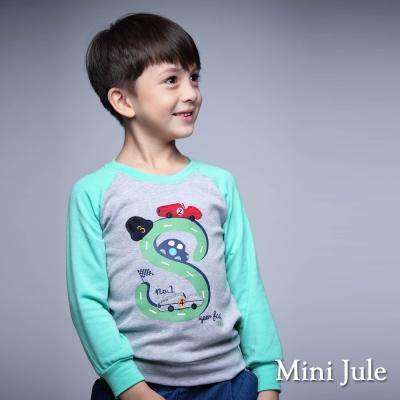 Mini Jule 童裝-上衣 汽車S軌道配色棉質長袖T恤(灰)
