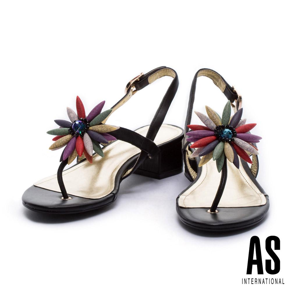 涼鞋 AS 華麗繽紛花瓣點綴T字羊皮粗跟涼鞋-黑