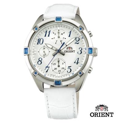 ORIENT 東方錶 SPORTY DESIGN系列 運動三眼計時女錶-白/38.5mm