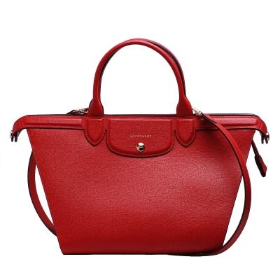 LONGCHAMP LE PLIAGE Heritage紀念款牛皮手提斜背微笑包(胭脂紅)