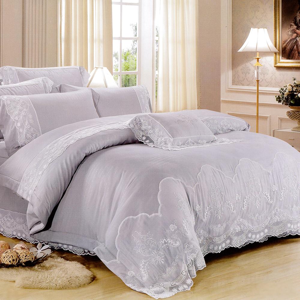 Lily Royal-60支頂級天絲銀纖維 特大四件式兩用被床包組-尊爵灰