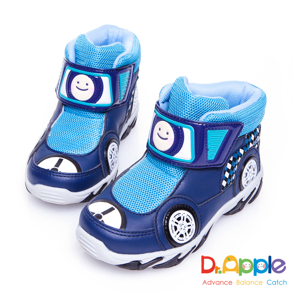 Dr. Apple 機能童鞋 超拉風急速賽車手中筒保暖童靴款 藍