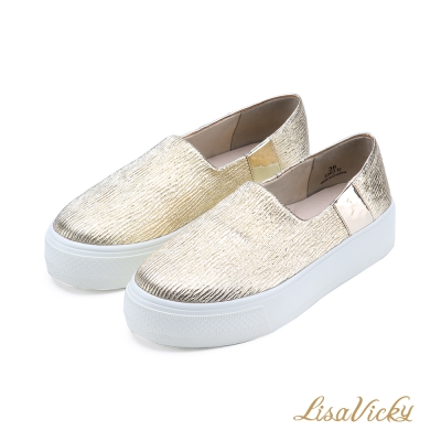 LisaVicky 舒適顯瘦厚底休閒懶人鞋-白金色
