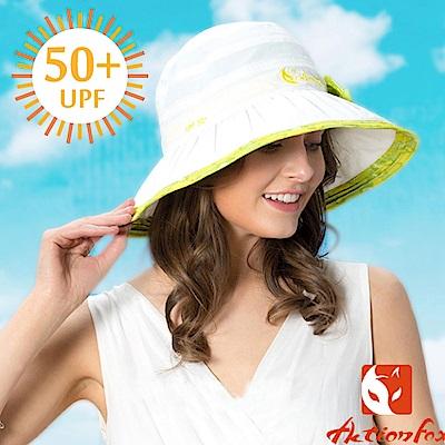 【挪威 ACTIONFOX】女新款 抗UV透氣帽簷蝴蝶結遮陽帽_白