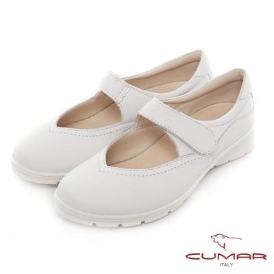 CUMAR街頭運動風-超輕量化腳背帶舒適休閒鞋-白