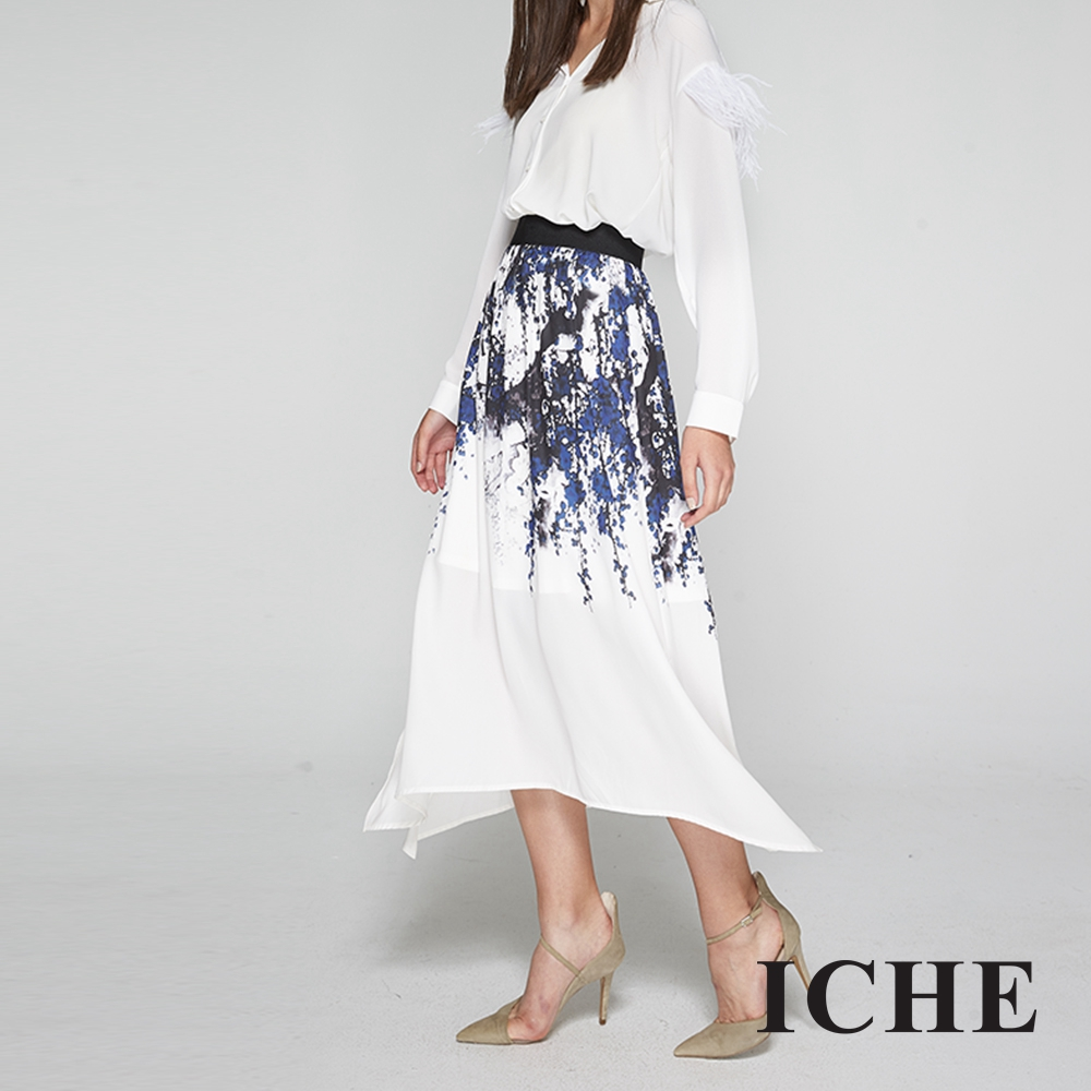 ICHE衣哲 輕時尚必備單品印花造型長裙
